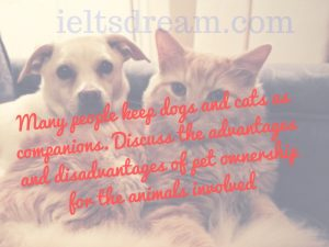 Many people keep dogs and cats as companions. Discuss the advantages
