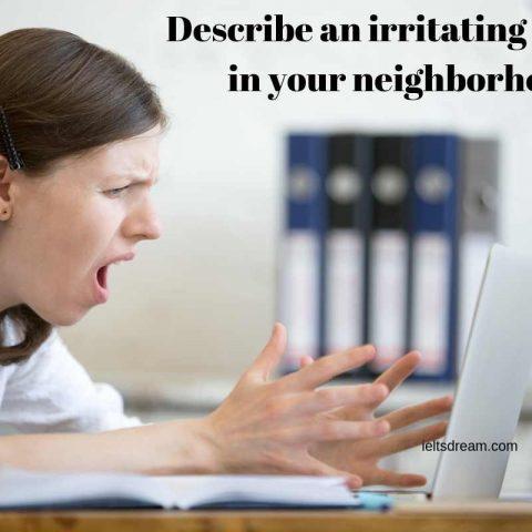 Describe an irritating person in your neighborhood