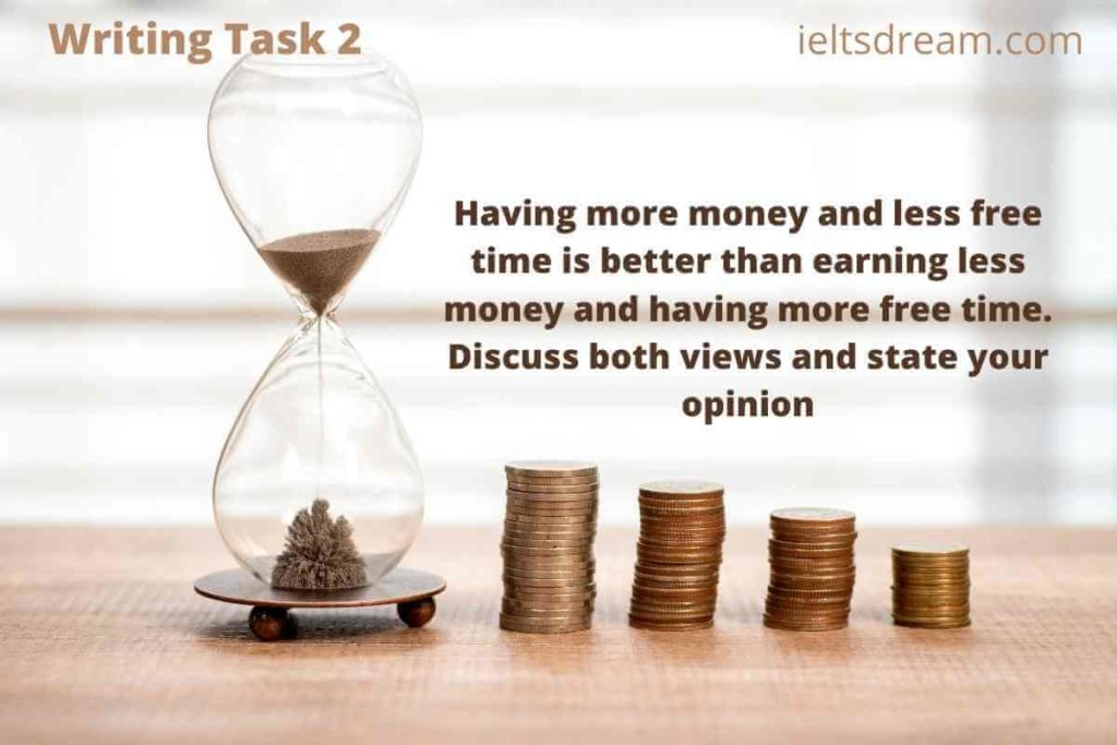 Having more money and less free time is better than earningless money and having more free time.Discuss both views andstateyour opinion