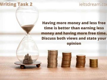 Having more money and less free time is better than earning less money and having more free time. Discuss both views and state your opinion